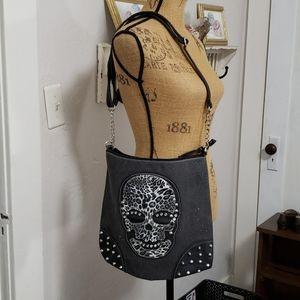 Faux Leather Skull Studded zipper Shoulde tote bag
